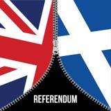 Brexit-Konzept Britische Markierungsfahne Schottische Flagge Schottisches Referendum Symbol des unmittelbar bevorstehenden Ausgan Lizenzfreie Stockfotografie