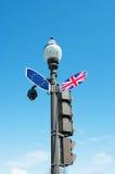 Brexit-Konzept mit Verkehrswegweiser Stockfotografie