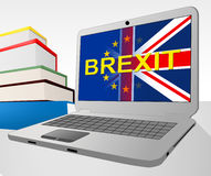 Brexit Laptop Shows Britain Remain Europe And Decision Stock Image