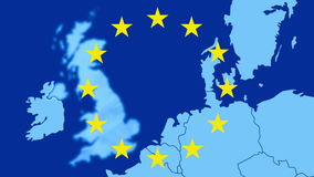 Brexit - map of the west of EU with the 12 symbolic stars - The UK is being erased in a blue smoky effect stock video