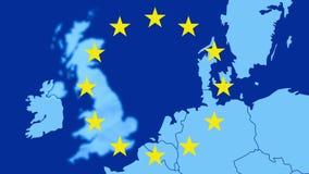 Brexit - mapa zachód UE z 12 symbolicznymi gwiazdami - UK ono wymazuje w błękitnym dymiącym skutku ilustracji