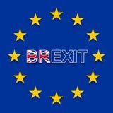 BREXIT na bandeira da UE - retirada BRITÂNICA da UE ilustração do vetor