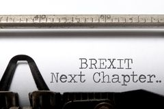 Brexit next chapter. Printed on a typewriter stock photo