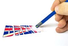 Brexit ninguna parada borrar para suprimir para volver bandera británica de vuelta y bandera de unión europea stock de ilustración