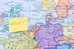Brexit note on a european map Royalty Free Stock Image