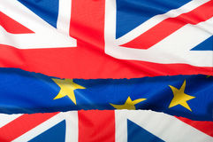 Brexit - Oddzielone flaga Europejski zjednoczenie i Zjednoczone Królestwo Obraz Royalty Free