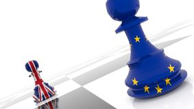 Brexit pawn chess great britain europe - 3d rendering. Brexit pawn chess great britain european union. - 3d rendering stock photography