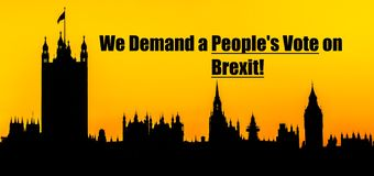 Brexit people`s vote message with Houses of Parliament, London background stock images