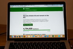 Brexit petition on UK parliament website to revoke article 50 and remain in the EU almost reach 5 millions signatures. London UK, 24th March 2019: Brexit stock images