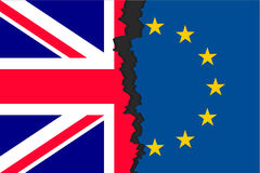 Brexit picture two parts of flags. The United Kingdom`s withdrawal from the European Union, British exit decision, two parts of flags, historic referendum result vector illustration