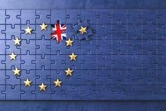Brexit pojęcie Łamigłówka z e europejską Zrzeszeniową flaga bez Grea. - Fotografia Royalty Free