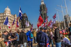 Brexit protest in parliament square London stock photos