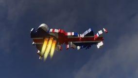 Brexit raket - illustration 3D stock illustrationer