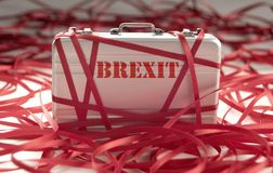 Brexit red tape. Red tape around a briefcase labeled brexit Royalty Free Stock Images