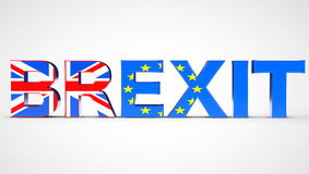 Brexit Referendum Concept Sign as UK and EU Flags. 3d Rendering. Brexit Referendum Concept Sign as UK and EU Flags on a white background. 3d Rendering Stock Photography