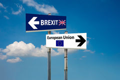Brexit referendum. A road signs EU and BREXIT and a blue sky stock photos