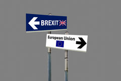 Brexit referendum. A road signs EU and BREXIT and a blue sky royalty free stock images