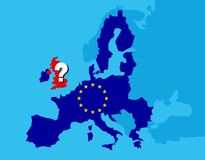 Brexit referendum UK concept - United Kingdom, Great Britain or England leaving EU with UK as a flag and EU stars on map of europe. With big question mark on vector illustration