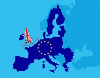Brexit referendum UK concept - United Kingdom, Great Britain or England leaving EU with UK as a flag and EU stars on map of europe stock illustration