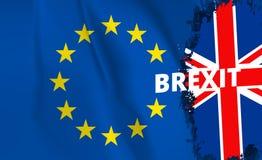 Brexit referendum UK Zjednoczone Królestwo lub Wielki Brytania wycofanie od e europejskiego zjednoczenia. - Flaga UK i UE pojęcia Obraz Stock