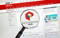 Brexit results on BBC site. MONTREAL, CANADA - JUNE 24, 2016 : Brexit results on BBC news site under magnifying glass. The Brexit, an abbreviation of 'British Stock Images