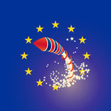 Brexit rocket UK and Euro union flags, raining stars Stock Photo