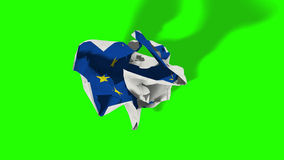 Brexit, rolling crumpled paper with european flag, schengen eurozone crisis, chroma key green screen Stock Photos