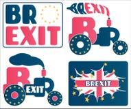 Brexit - salida BRITÁNICA de la UE de la unión europea Un sistema de historietas y de conceptos sobre el referéndum de Gran Breta stock de ilustración