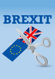 Brexit - Scissors cutting the flags of the European Union and of the United Kingdom Stock Photo