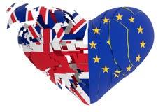 Brexit serce pękał odosobnionego w białym tle - 3d rendering ilustracja wektor