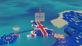 Brexit ship UK sailing away - 3D illustration animation. Brexit - 3D illustration - UK sailing away but constrained by chains linked to Norther Ireland and stock video