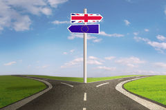 Brexit signpost with flag of UK and EU Royalty Free Stock Photography