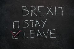 Brexit stay or leave on black chalkboard Royalty Free Stock Photography