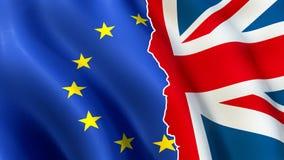 Brexit symbol - europeisk union och UK-flaggor ifrån varandra stock illustrationer