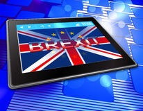 Brexit Tablet Means Tablets Britain Flag And United Stock Photos
