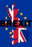 Brexit tekst z UK mapą Fotografia Stock