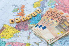Brexit text with euro money Royalty Free Stock Images