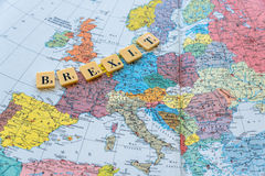 Brexit text on map. Brexit word on european map. The United Kingdom European Union membership referendum on 23 June 2016 Stock Image