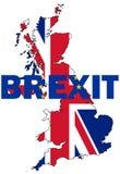 Brexit text med UK-översikten Royaltyfria Bilder