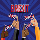 Brexit thumbs up with UK flags. EPS 10 vector Stock Photos