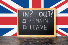 Brexit UK EU referendum concept with flag and handwriting text i Stock Image