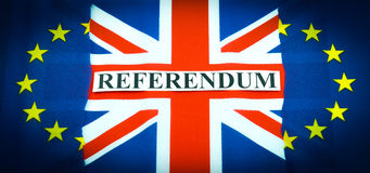 Brexit UK EU referendum. Concept with flags and topical message Royalty Free Stock Photos