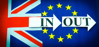 Brexit UK EU referendum. Concept with flags and topical message Stock Image