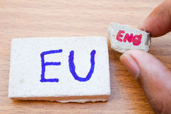 Brexit UK EU referendum concept with word UN and Eng on wooden Royalty Free Stock Images