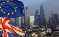 Brexit: UK and European Union flag and London Royalty Free Stock Photo