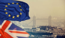Brexit: UK and European Union flag and London Royalty Free Stock Images
