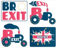 Brexit - UK exit from European Union EU. A set of cartoons and concepts about the Great Britain referendum stock illustration