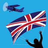 Brexit UK parachutist jumping from EU plane. Royalty Free Stock Image