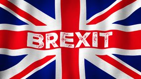 Brexit Union Jack flag waving in the wind. Closeup of realistic brexit concept flag with highly detailed fabric texture