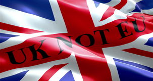 Brexit united kingdom of great britain england flag with word uk not eu. Vote referendum for uk exit concept stock video